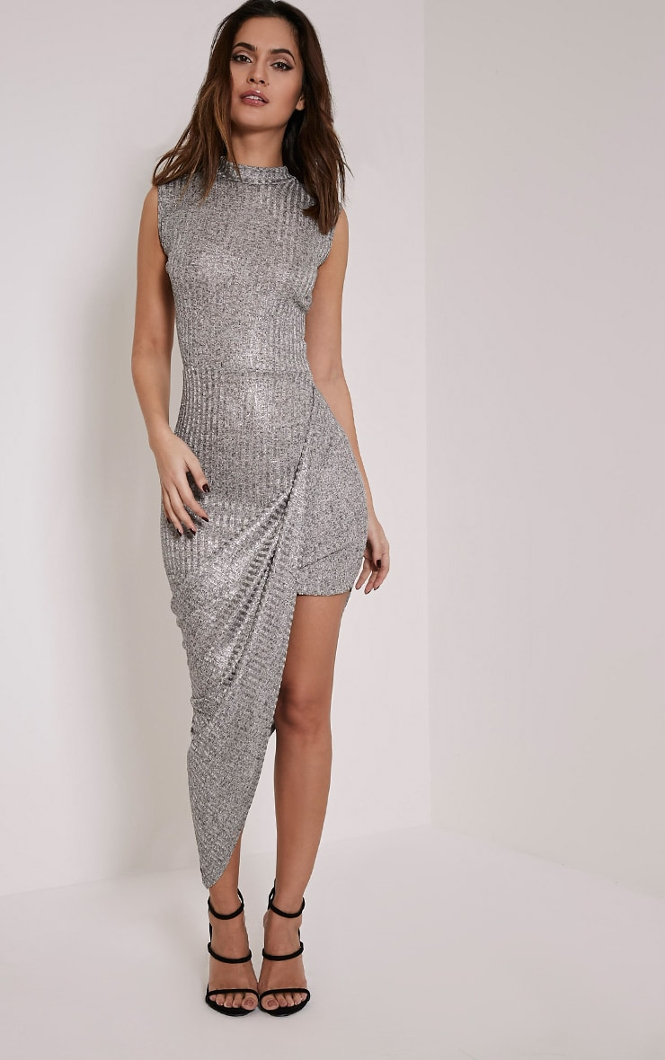 Prim Silver Lurex Asymmetric Drape Dress 1