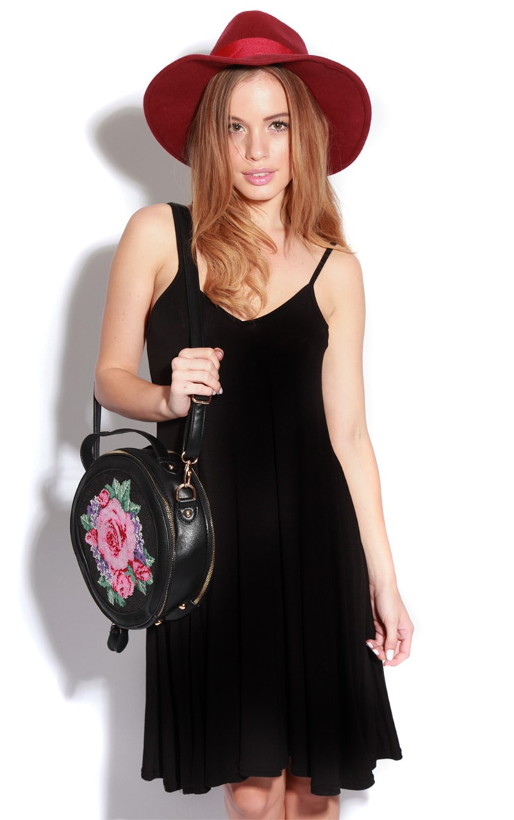 Roze Black Strappy Swing Dress 1