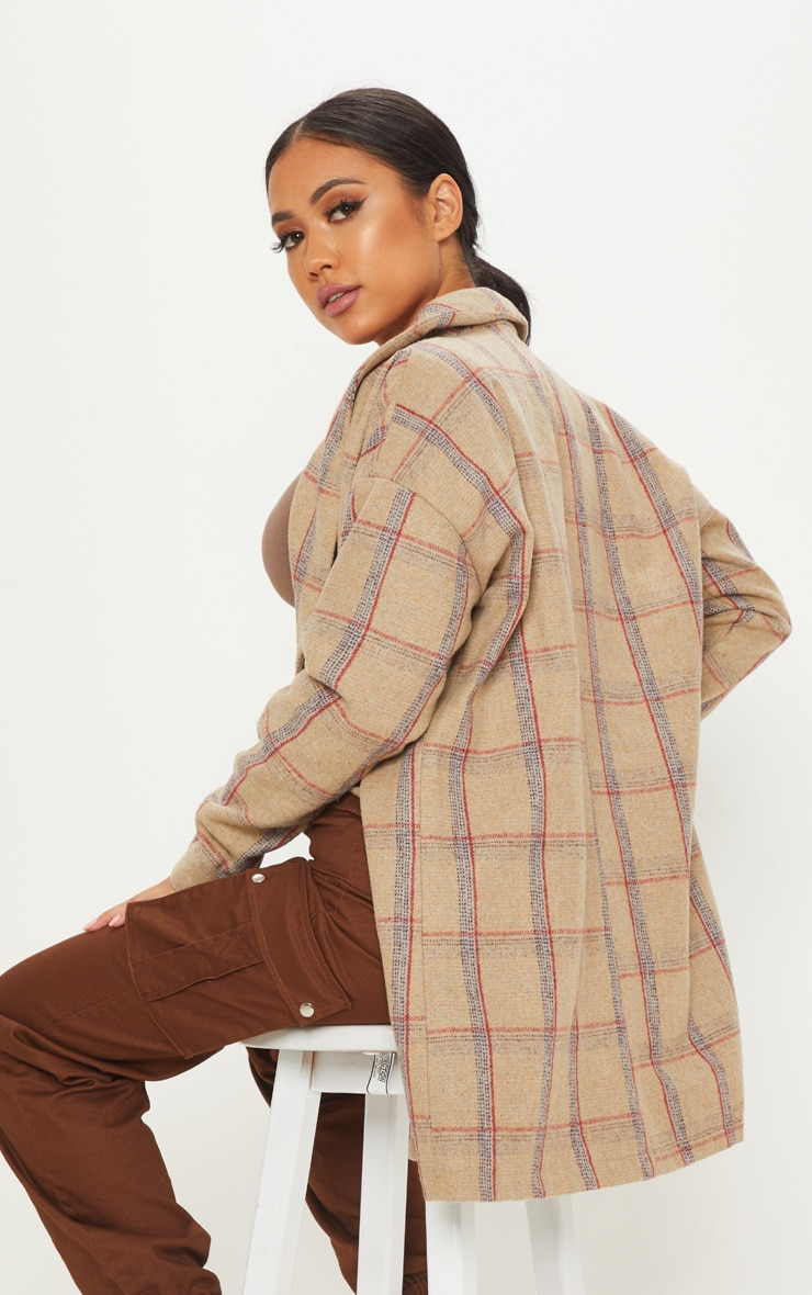 Petite Nude Check Oversized Coat 2