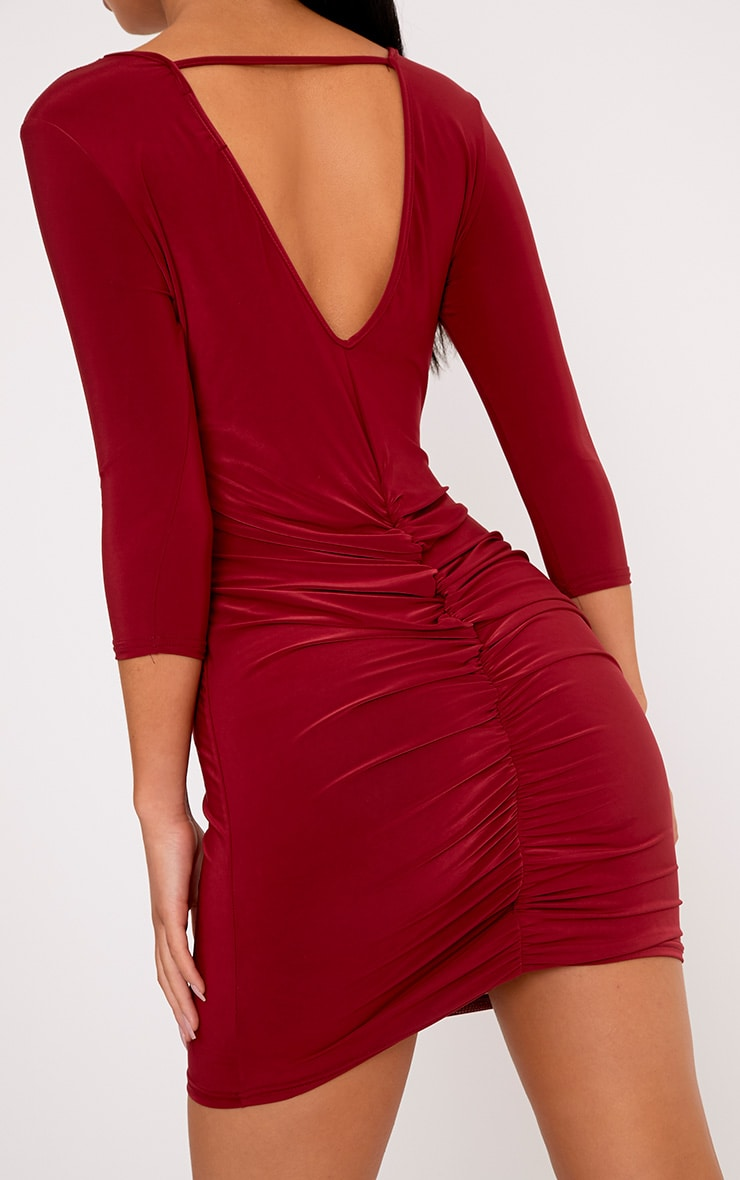 Antonina Burgundy Slinky Ruched Back Bodycon Dress 5