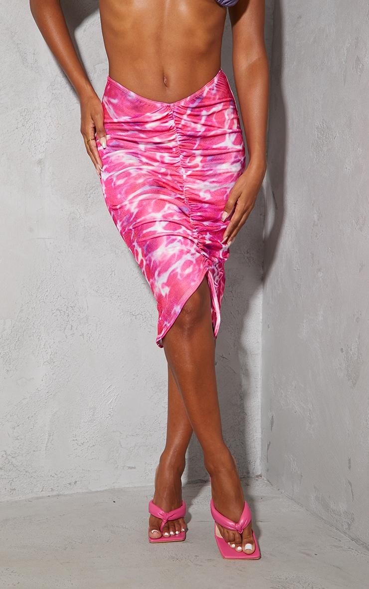 Pink Swirl Print Acetate Slinky V Front Ruched Midi Skirt 2