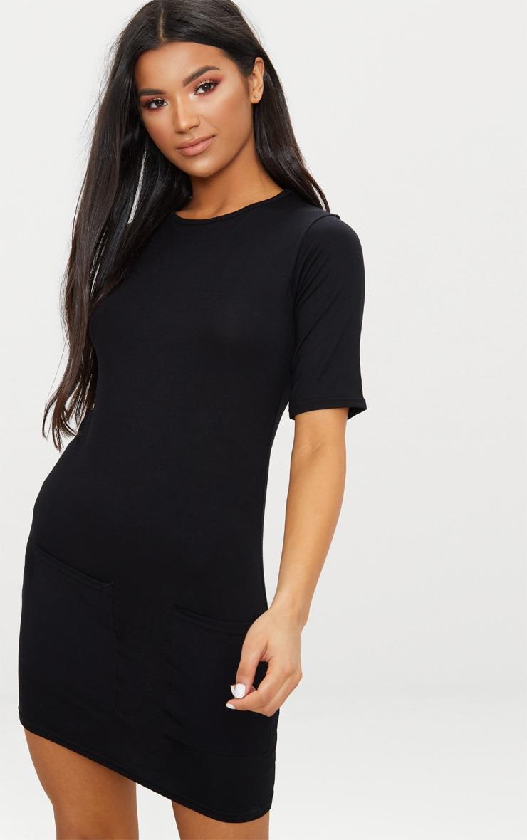 Basic Black Pocket Detail T Shirt Dress 2