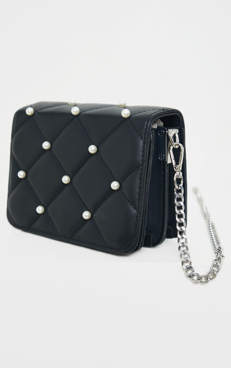 Black Quilted White Pearl Cross Body Bag 3