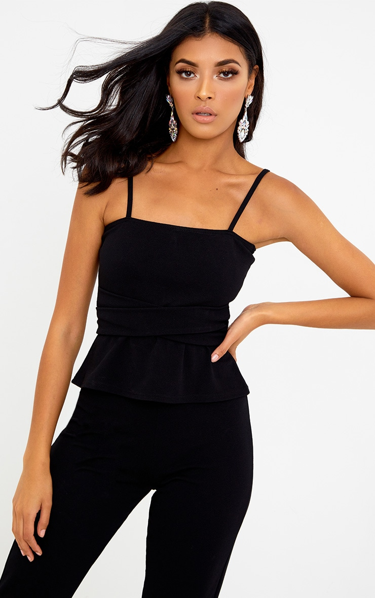 Black Square Neck Tie Waist Cami Top 2