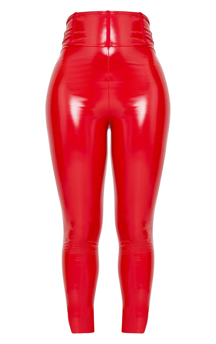 Shape Red High Waist Vinyl Leggings 3
