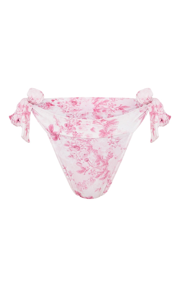 Pink Floral Tie Side High Leg Bikini Bottom 6