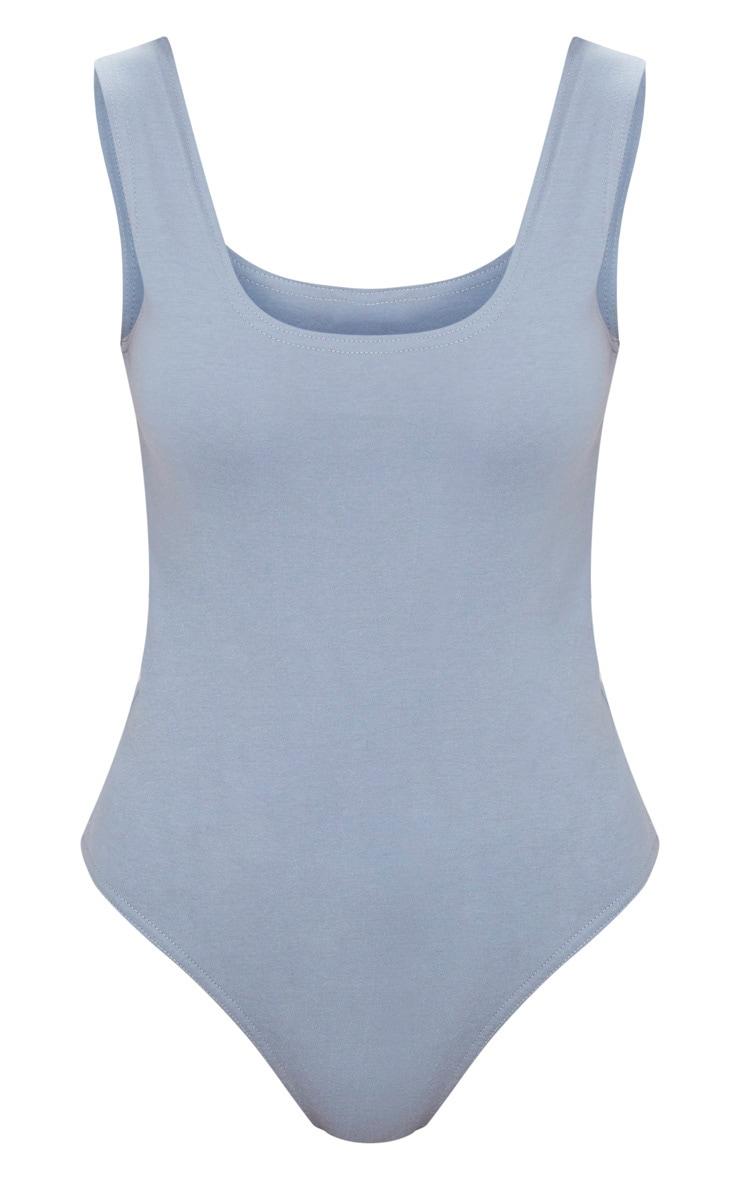 Body-string en coton stretch bleu gris à décolleté arrondi 3