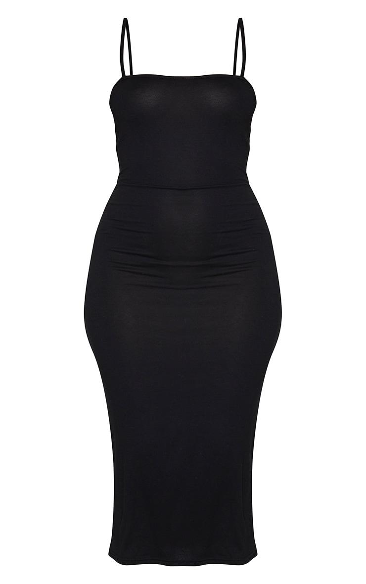 Black Jersey Spaghetti Strap Midaxi Dress 5