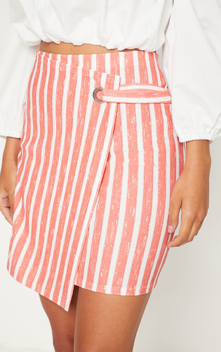 Red Wrap Over Front Stripe Skirt 6
