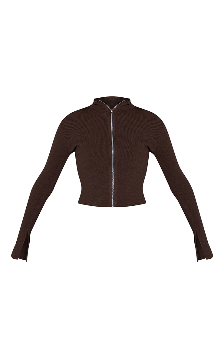 Chocolate Ribbed Knitted Zip Up Cardigan 5