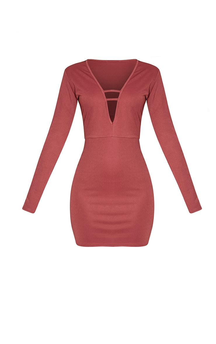 Arya Rose Strap Detail Plunge Bodycon Dress 3