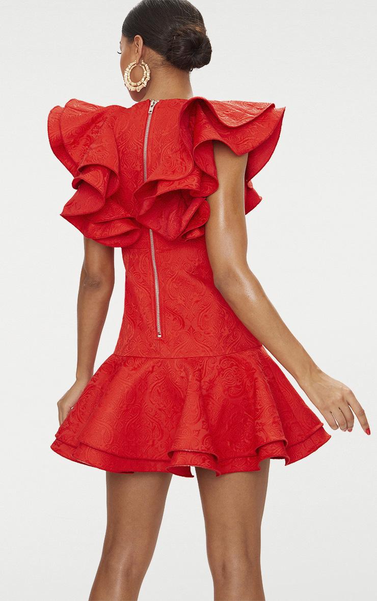 Red Jacquard Frill Drop Hem Plunge Dress 3