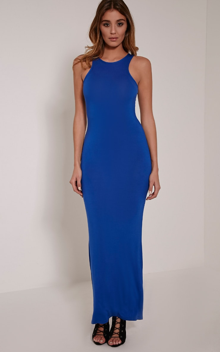 Basic Cobalt Racer Neck Maxi Dress 1