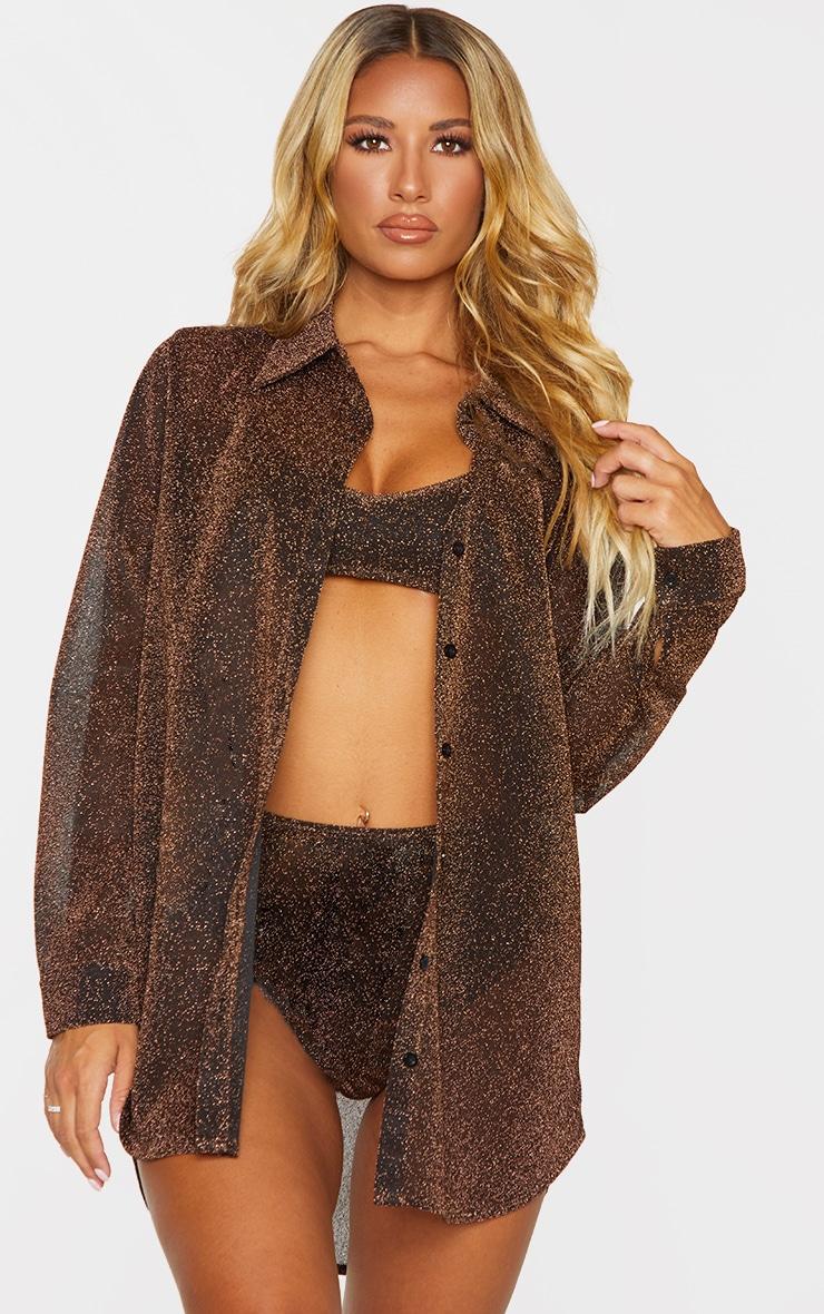 Brown Glitter Oversized Beach Shirt 1