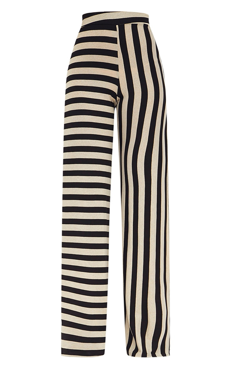Black Contrast Leg Metallic Stripe Trousers 3