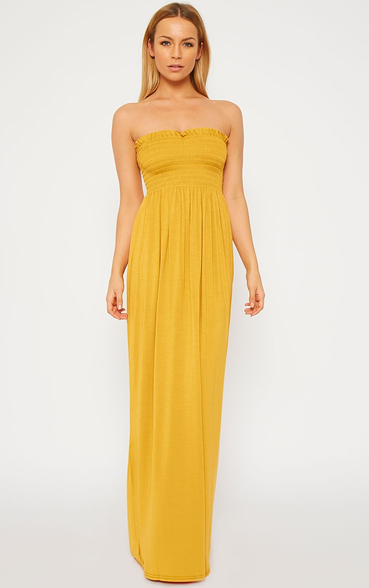 Tamara Mustard Elasticated Bandeau Jersey Maxi Dress 2
