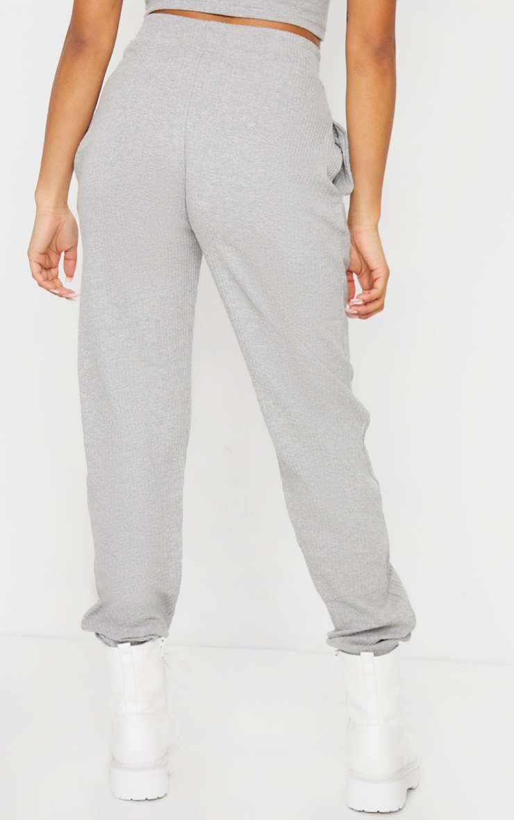 Petite Grey Ribbed Oversized Joggers 3