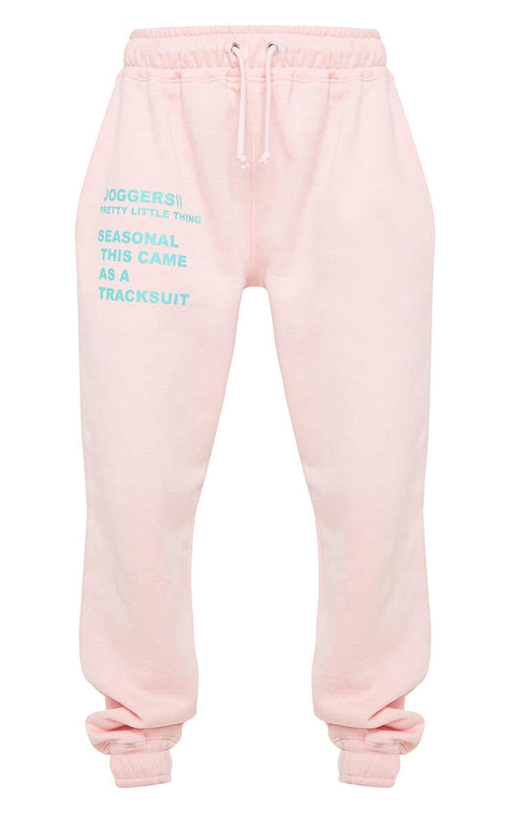 PRETTYLITTLETHING Light Pink Graphic Print Joggers 5