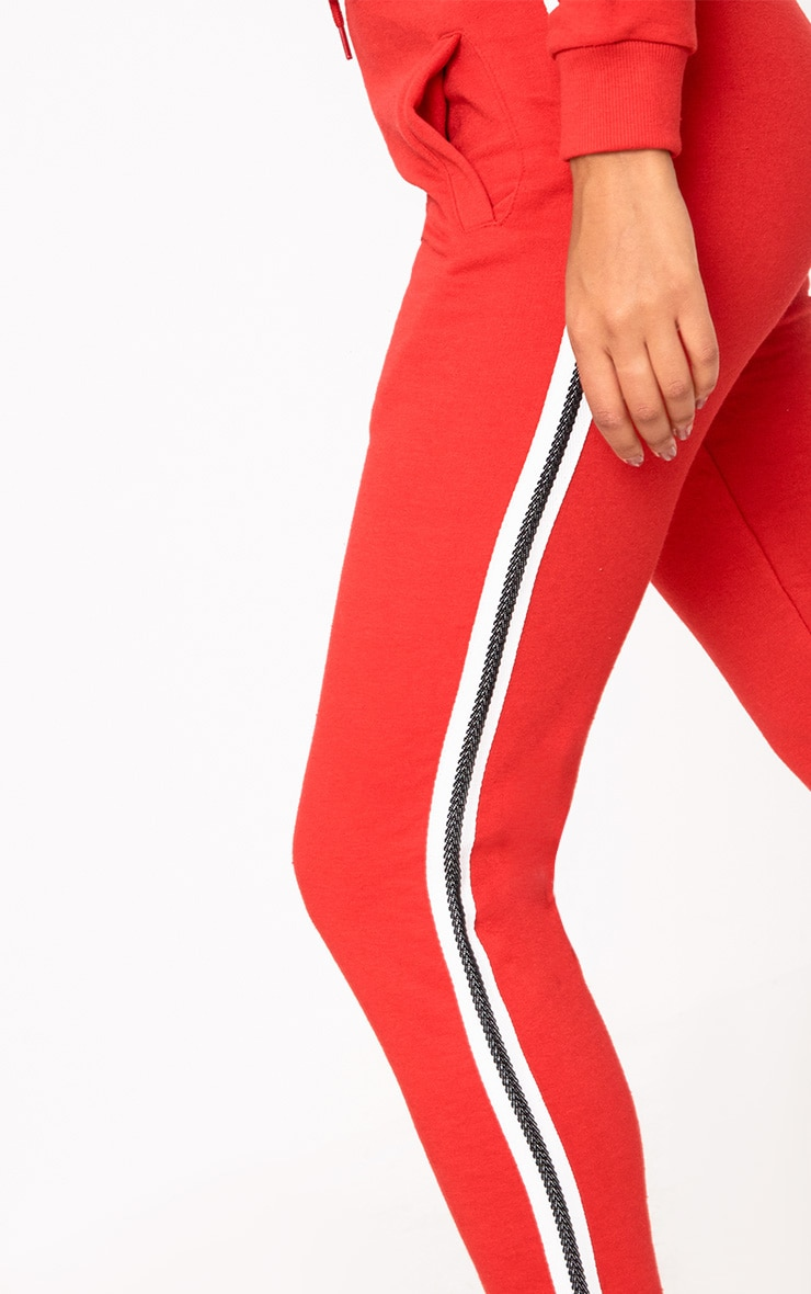 Red Side Stripe Track Pants 5