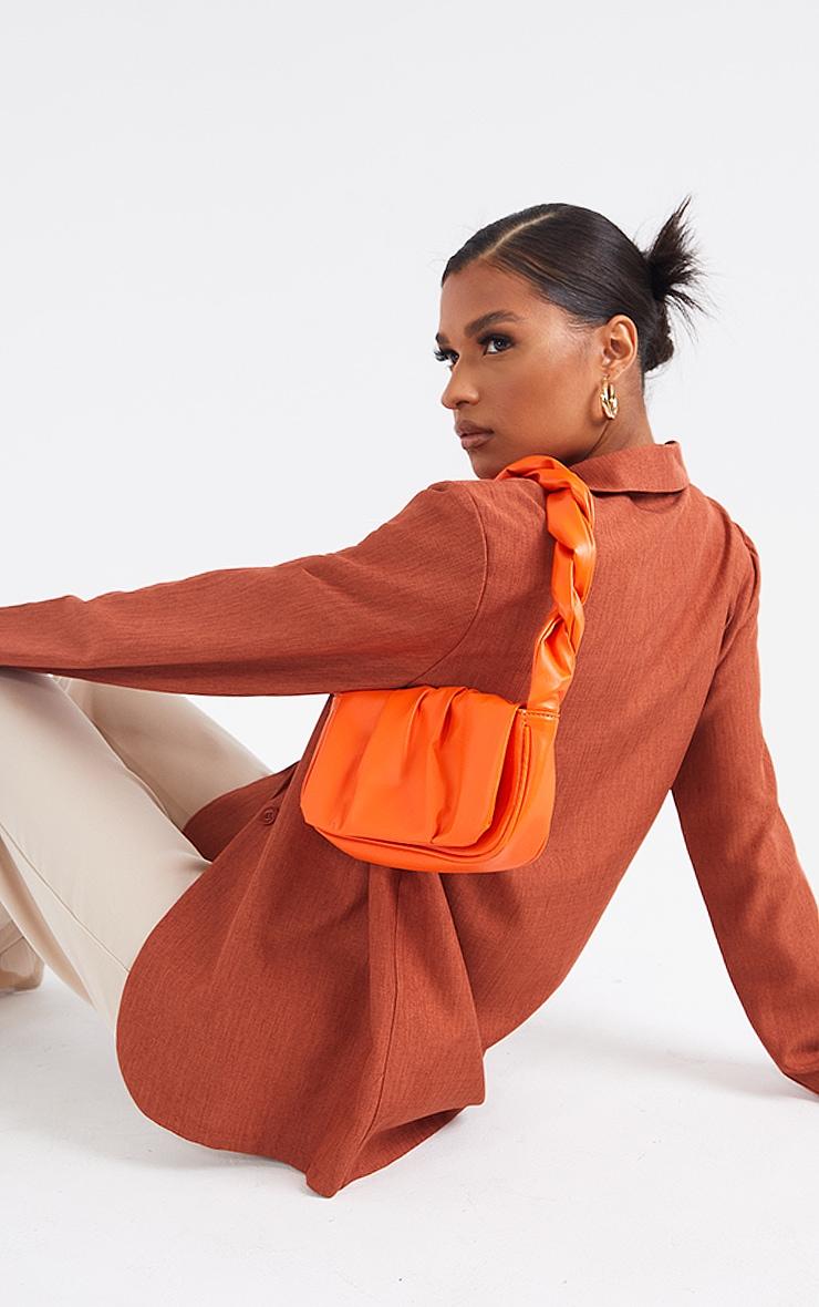 Orange Twist Strap Ruched Front Shoulder Bag 1
