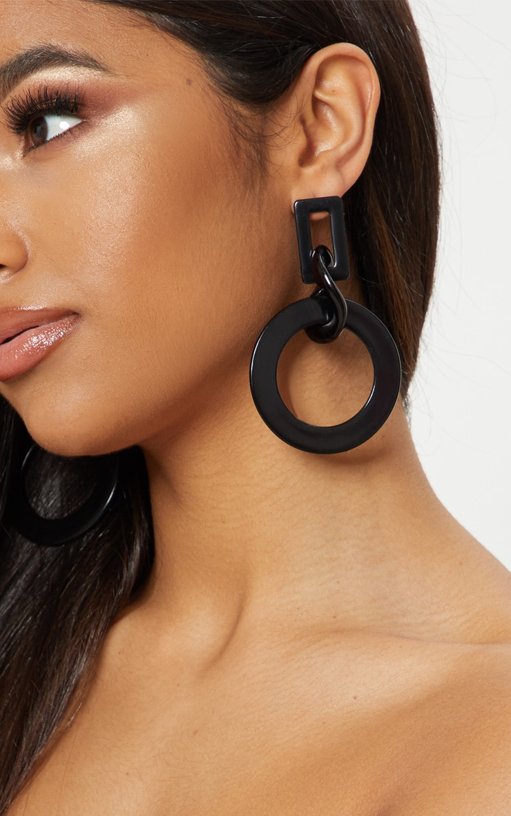 Black Resin Chunky Link Chain Earrings