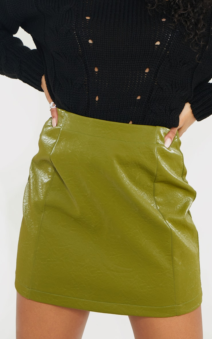 Olive Textured Faux Leather Mini Skirt 4