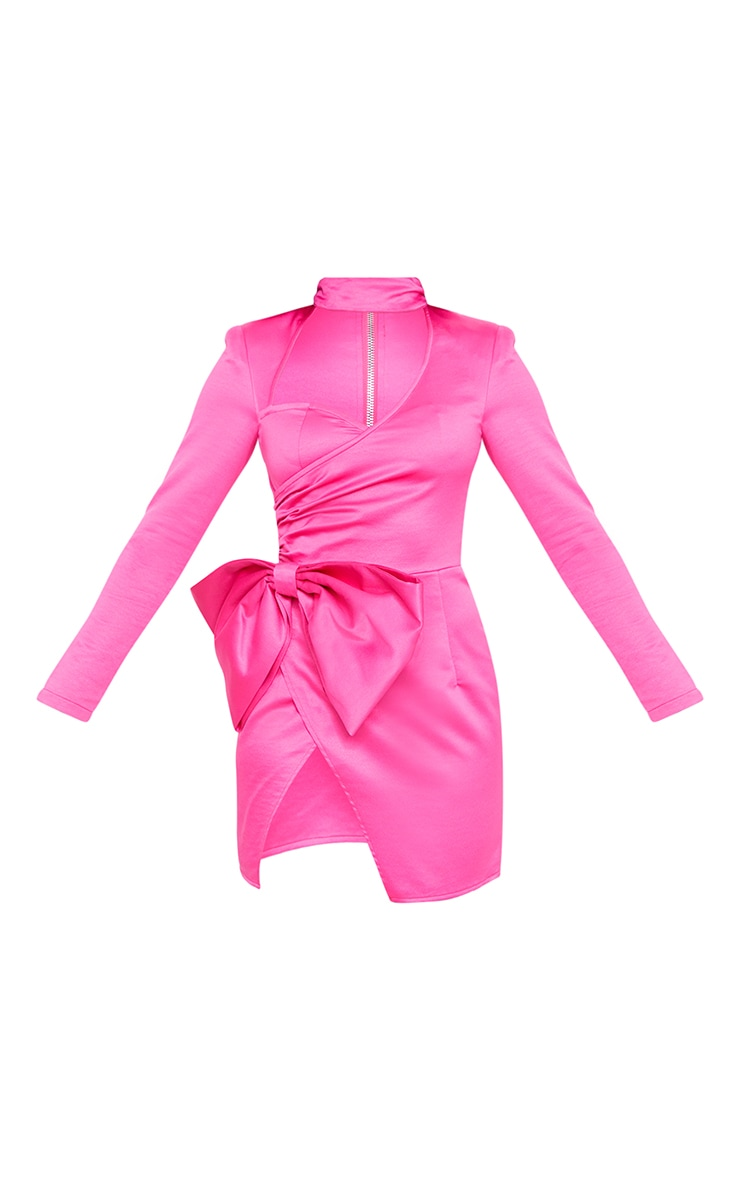 Hot Pink Cut Out Bow Detail High Neck Bodycon Dress 6