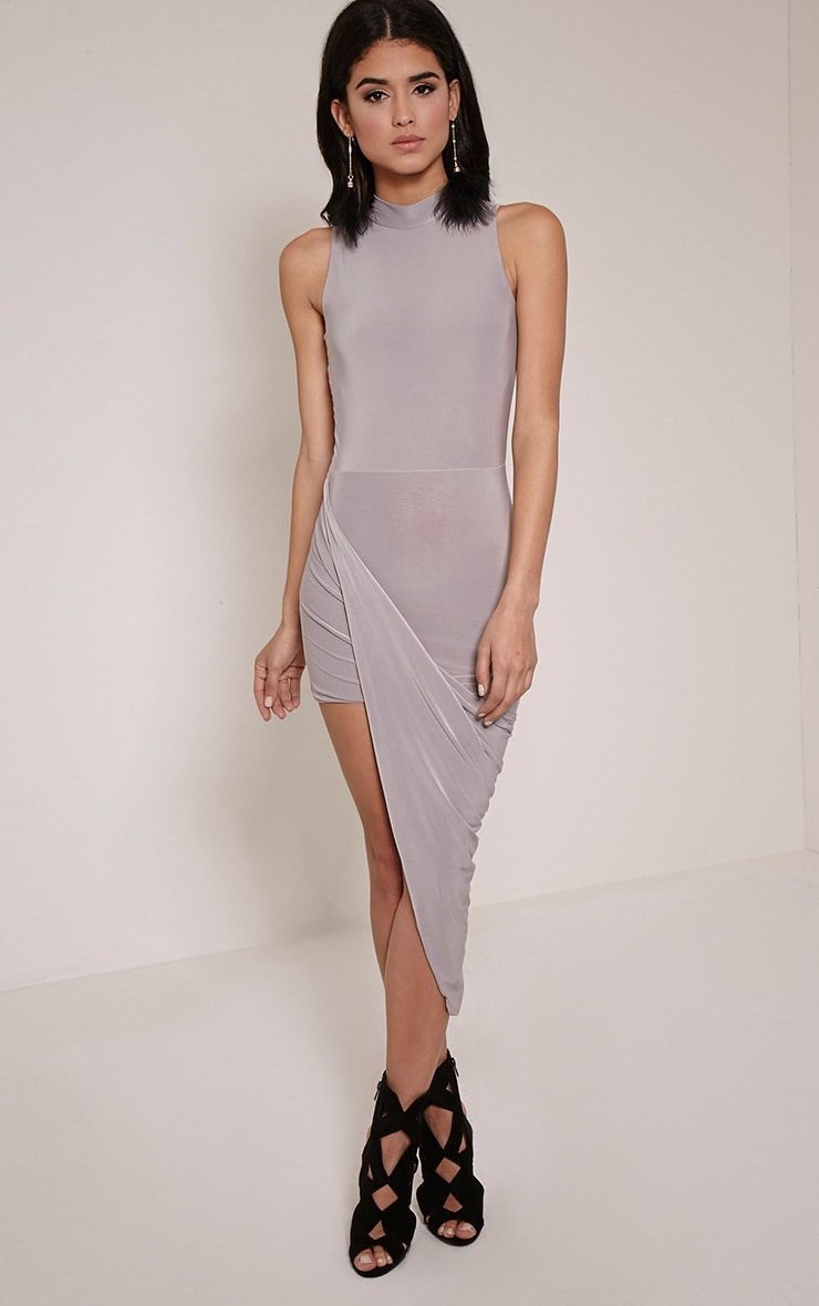 Prim Grey Slinky Drape Slinky Asymmetric Dress 1