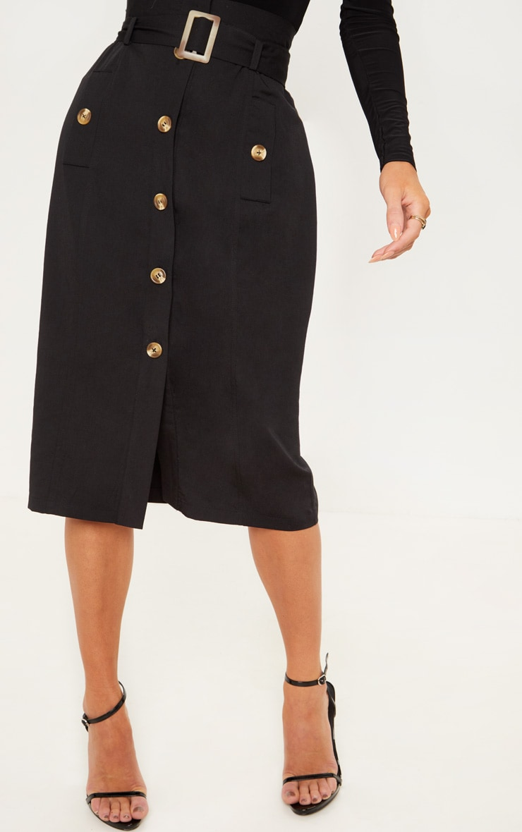 Black Belted Waist Utility Skirt 2