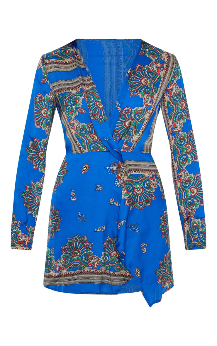 Thandie Cobalt Silky Long Sleeve Wrap Dress 3
