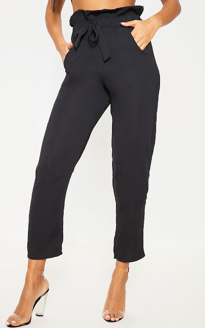 Black Tie Waist Paperbag Skinny Trouser