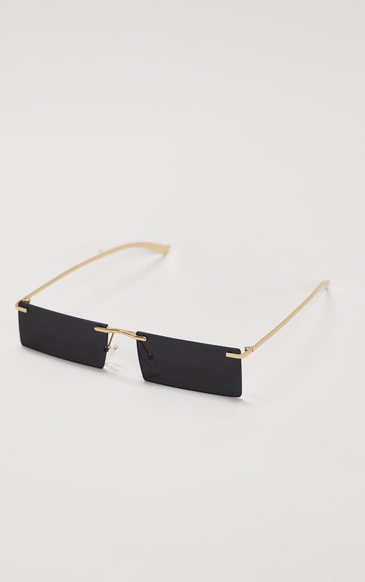Black Gold Trim Square Lens Sunglasses 3