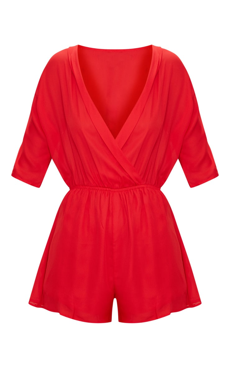 Red Wrap Front Playsuit 3