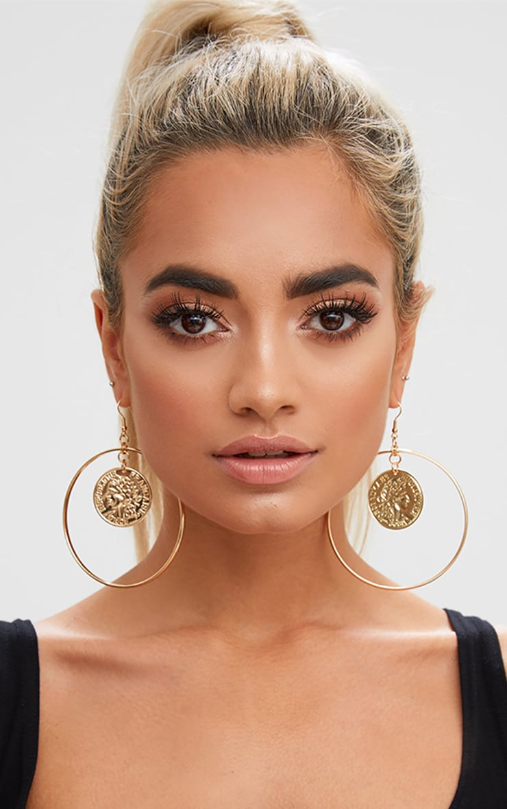 Gold Oversized Coin Middle Hoop Earrings 1