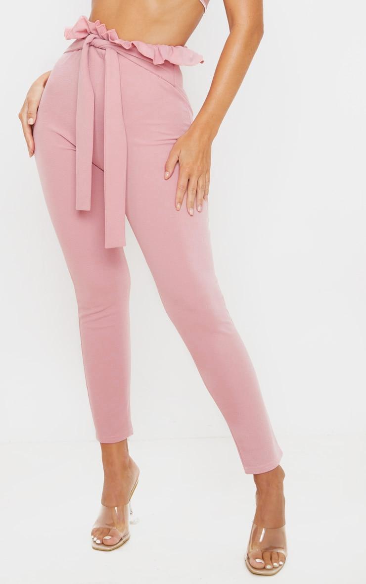Dusty Pink Paperbag Skinny Pants  2