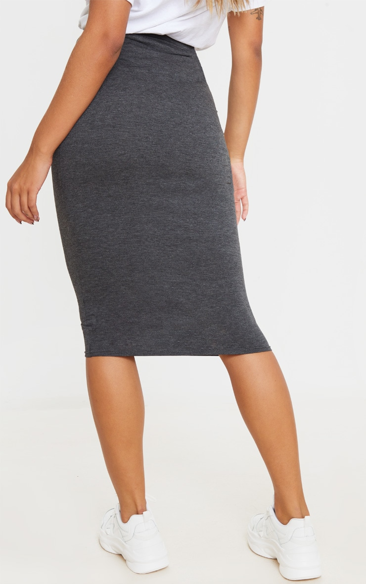 Charcoal Ultimate Jersey Longline Midi Skirt 3