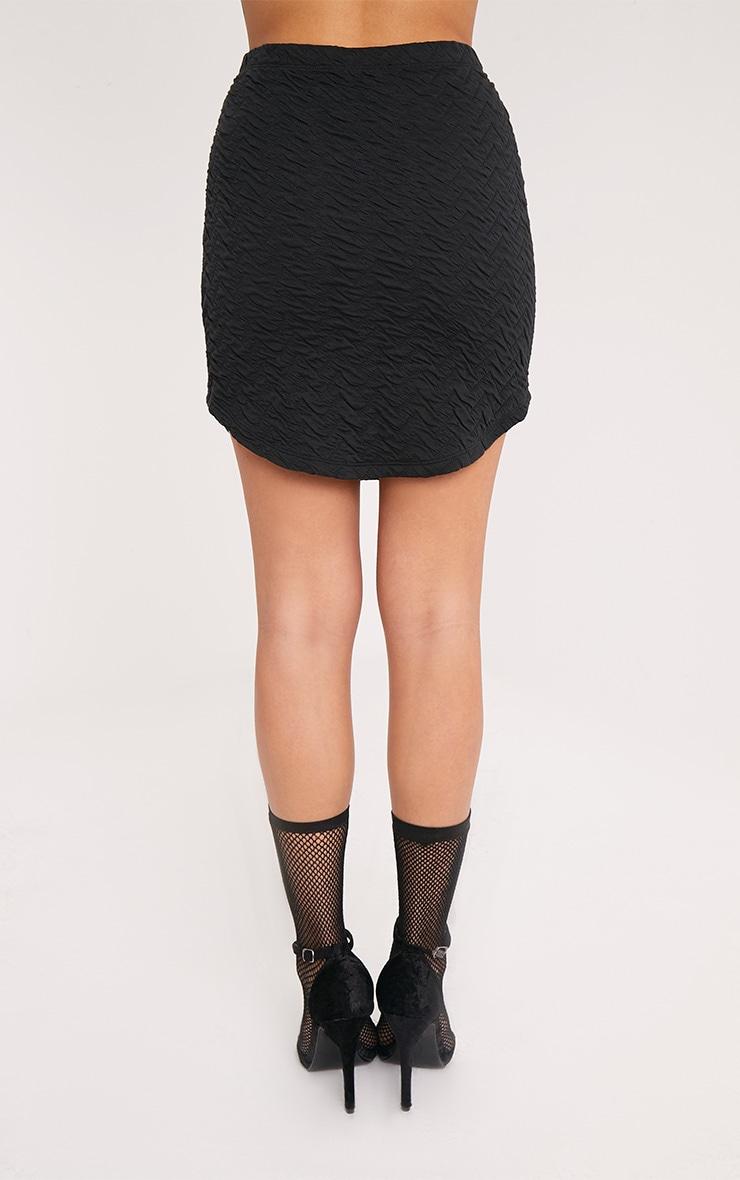 Shayla Black Textured Curve Hem Mini Skirt 4