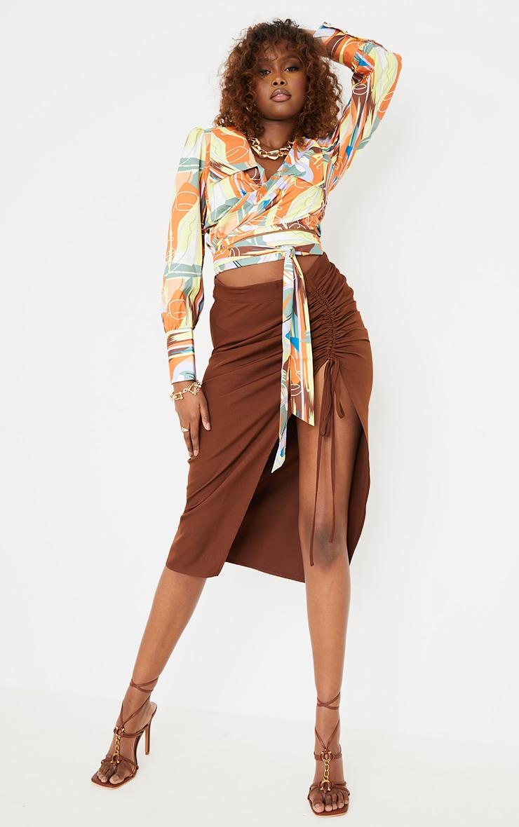 Multi  Abstract Face Print Satin Wrap Waist Long Sleeve Shirt 3