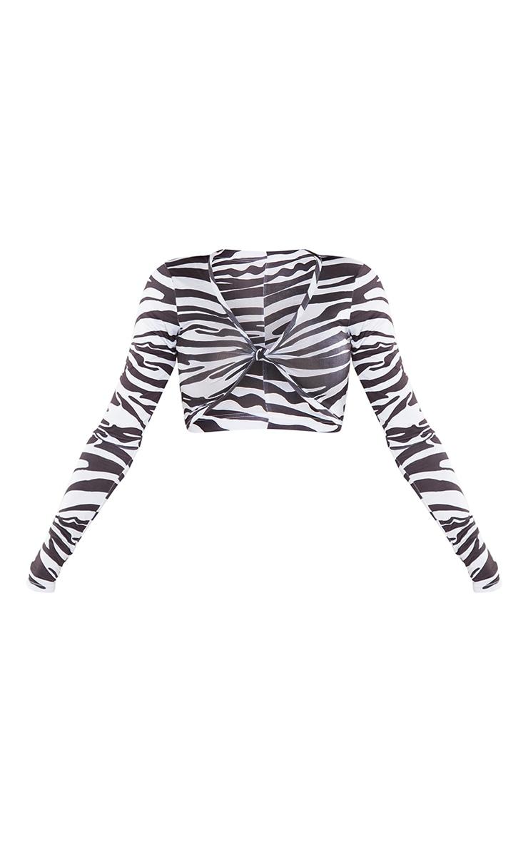 Black Zebra Printed Slinky Long Sleeve Twist Front Crop Top 5