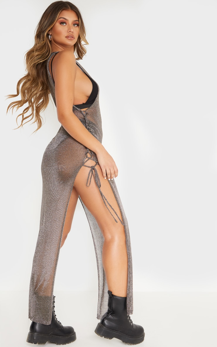 Pewter Metallic Knitted Maxi Dress 2