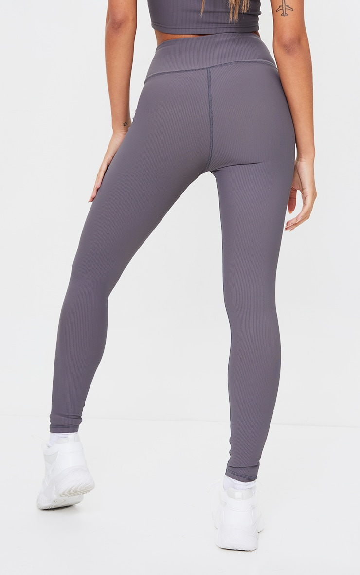 Charcoal Sculpt Ribbed Textured Gym Leggings 3