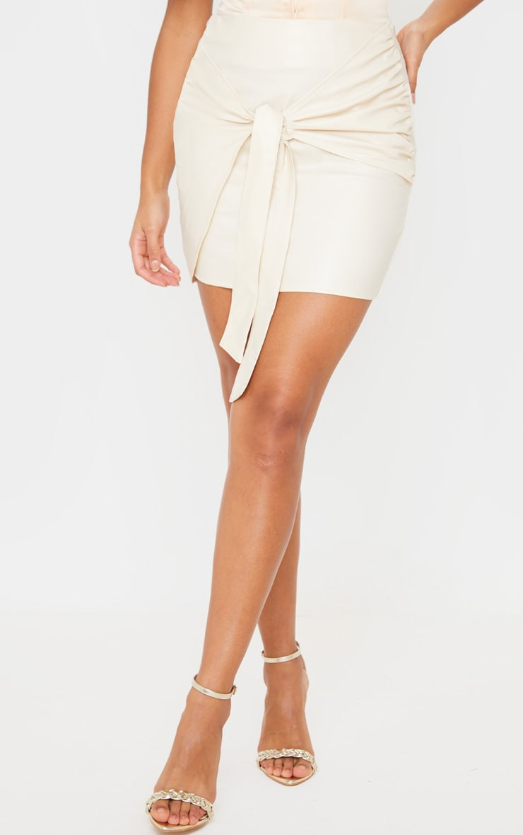 Cream Faux Leather Tie Front Mini Skirt  2