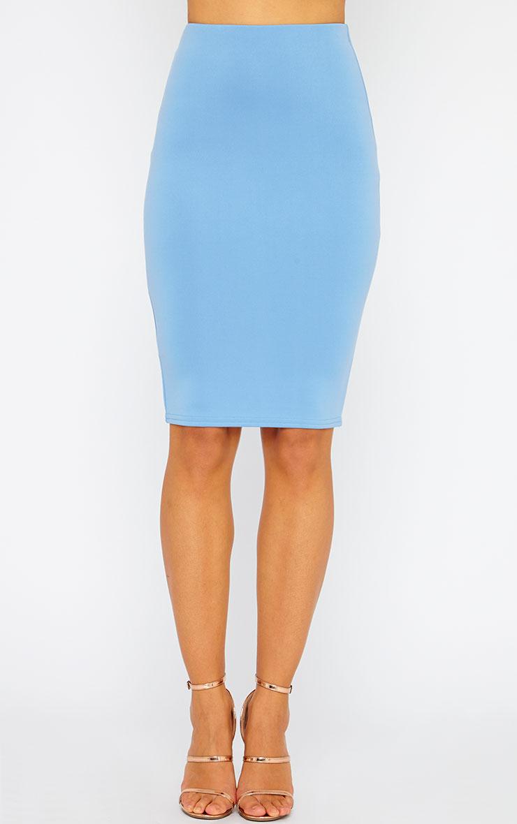Winnie Powder Blue Scuba Midi Skirt 2
