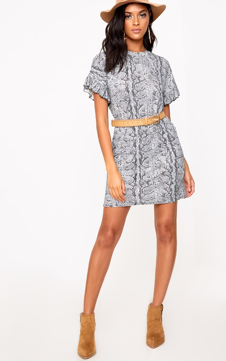 Grey Snake Frill Sleeve T Shirt Dress  4