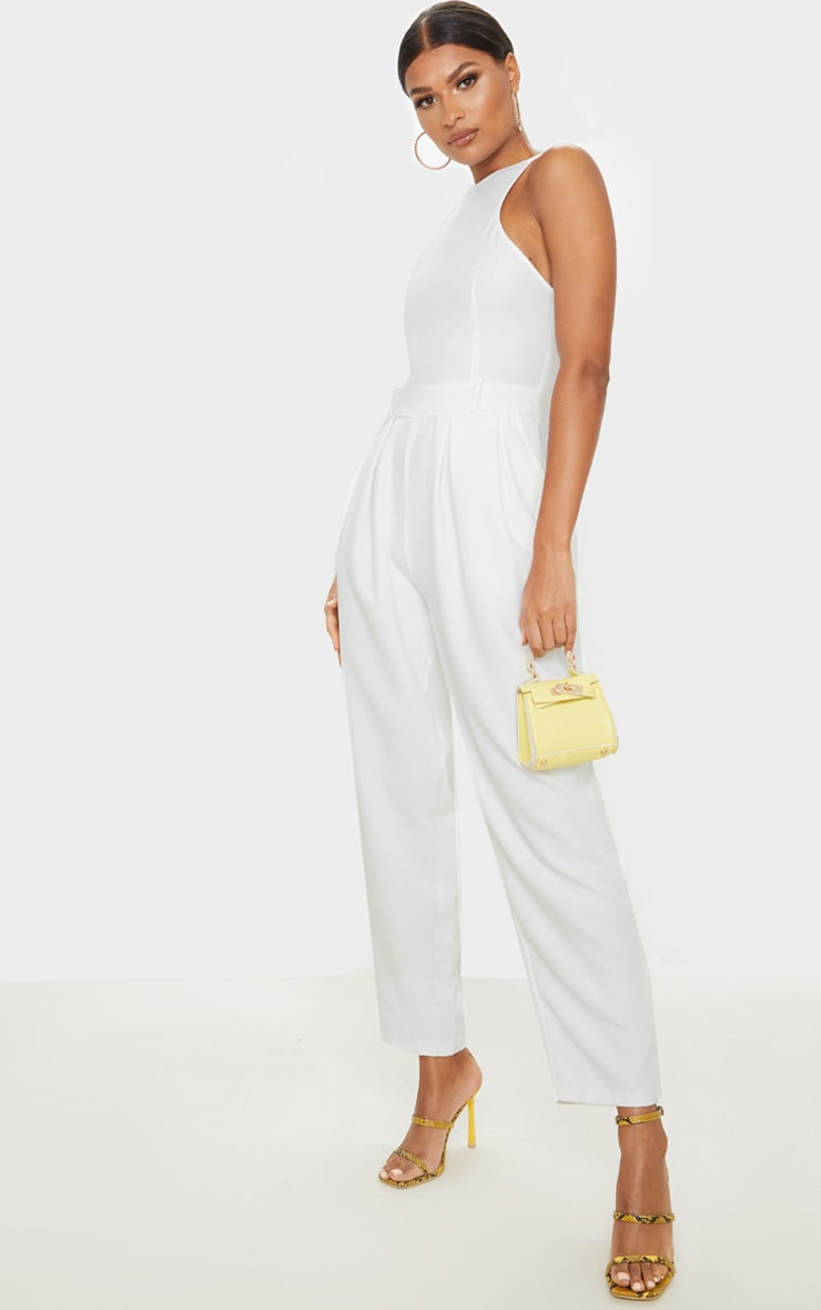 White Racer Back Pocket Detail Jumpsuit 4