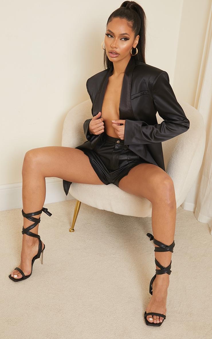 Black Pu Chunky Lace Up Clear High Heels 1