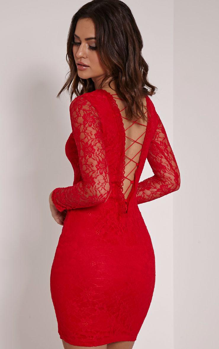Reena Red Lace Up Detail Mini Dress 1