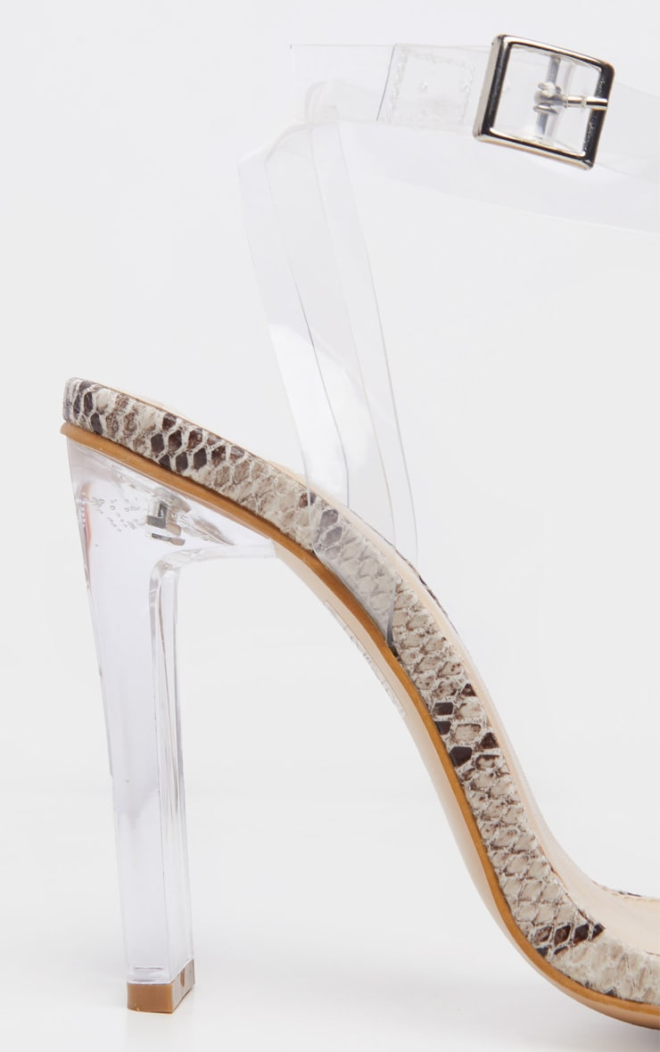 Snake Flat Heel Clear Strap Sandal 4