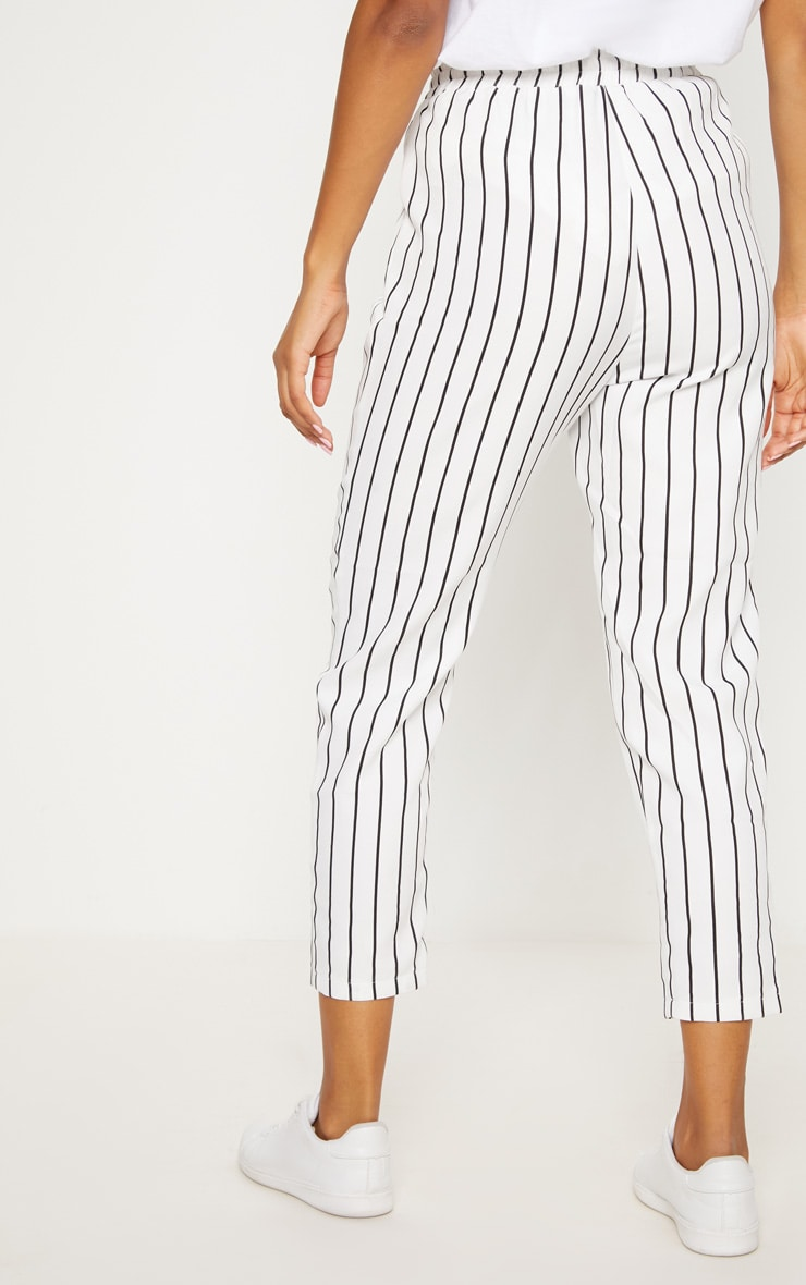 Diya White Pinstripe Casual Trousers 4