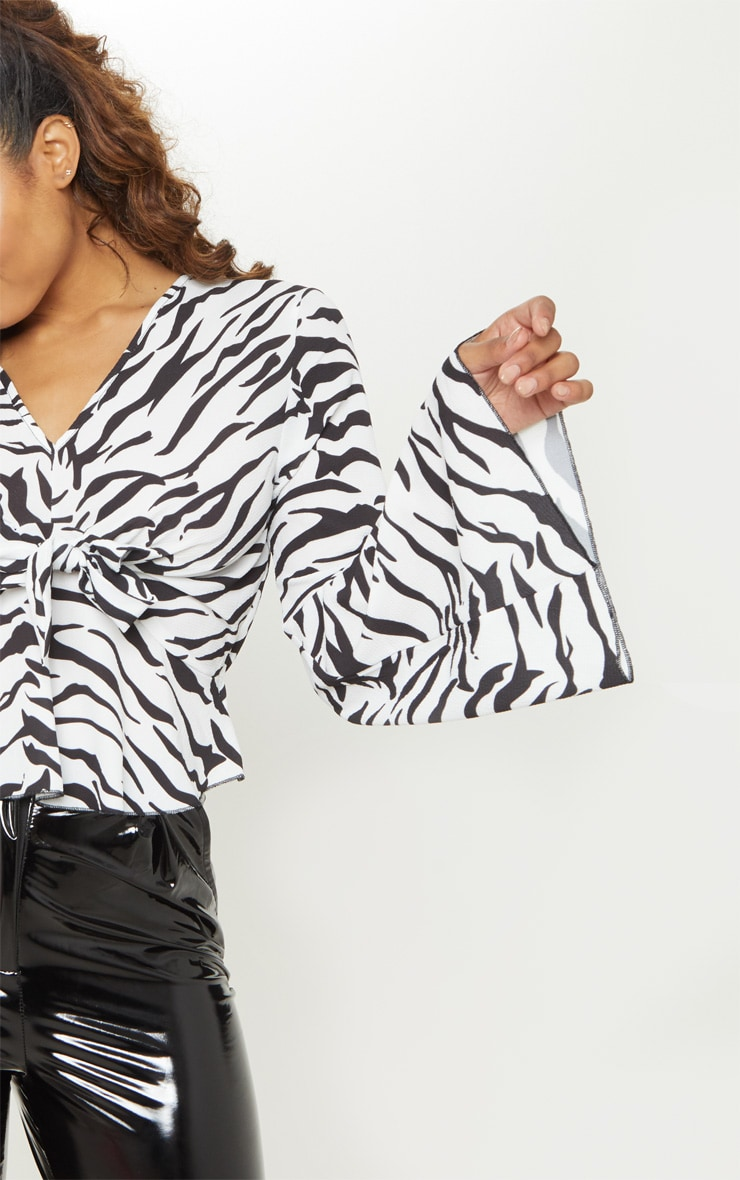 Tall White Zebra Print Wide Sleeve Tie Front Top 5